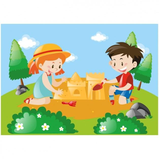 Ni os haciendo un castillo de arena descargar vectores - Castillos para ninos de infantil ...