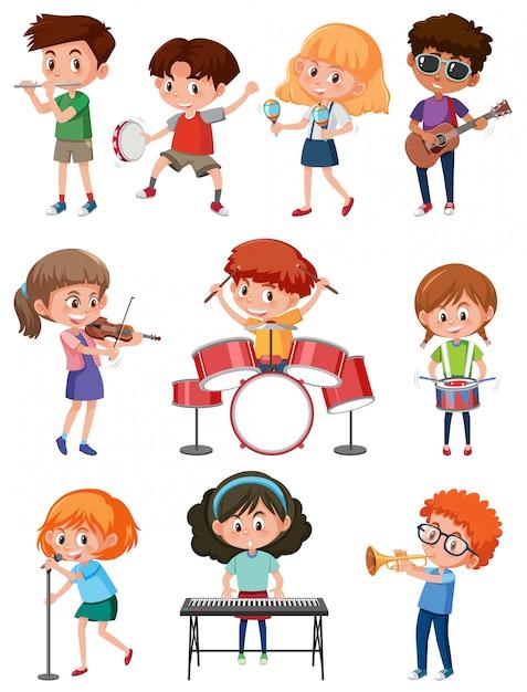 Niños con instrumento musical Vector Premium