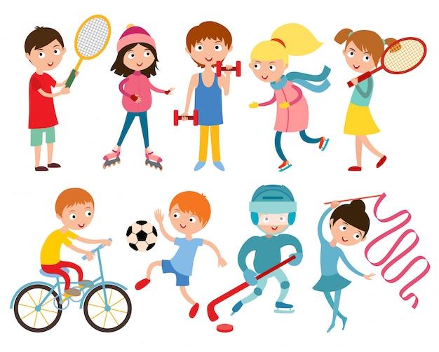 Niños jóvenes deportistas aislados Vector Premium