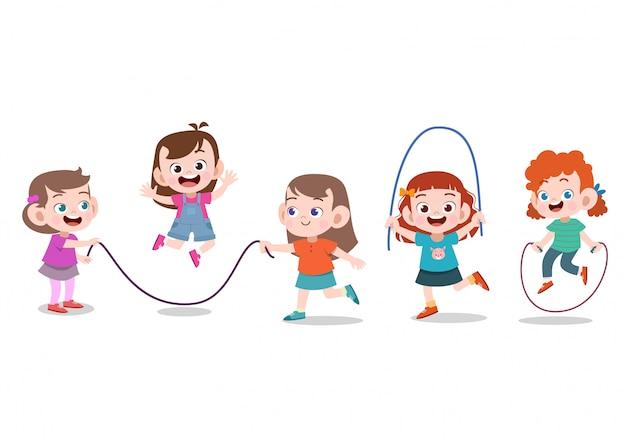 Los niños juegan con cuerda Vector Premium