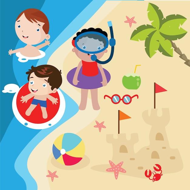 Niños Juegan Ilustración De Dibujos Animados De Playa Descargar