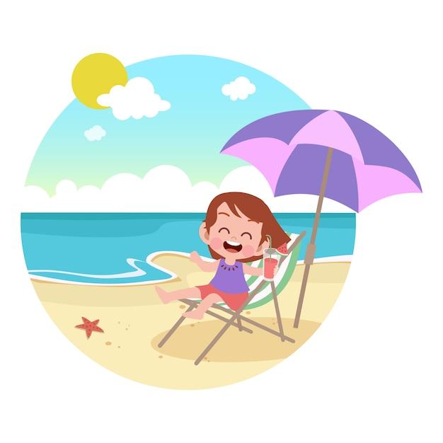 Los niños juegan en la ilustración de la playa Vector Premium