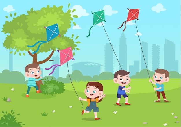 Los niños juegan en el parque Vector Premium