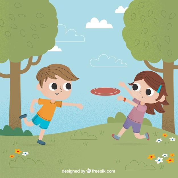 Niños jugando al frisbee en el parque vector gratuito