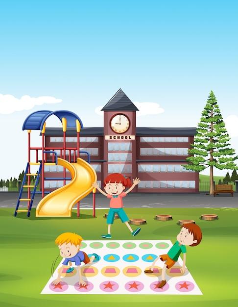 Niños jugando al tornado en el césped de la escuela. Vector Premium