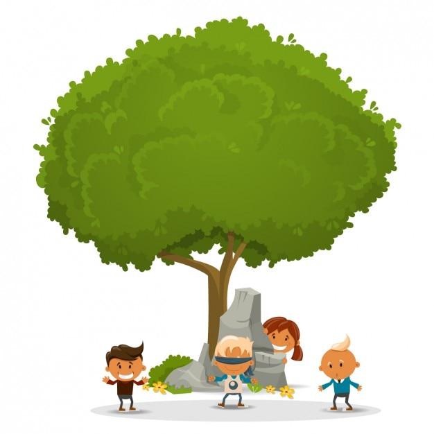 Niños jugando alrededor de un árbol | Descargar Vectores