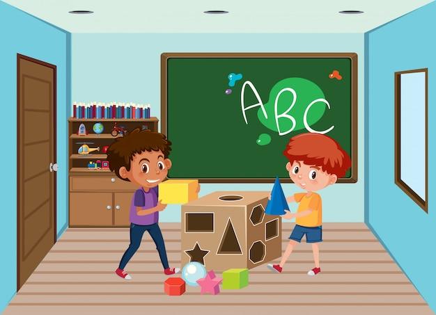 Niños jugando en el aula | Vector Premium