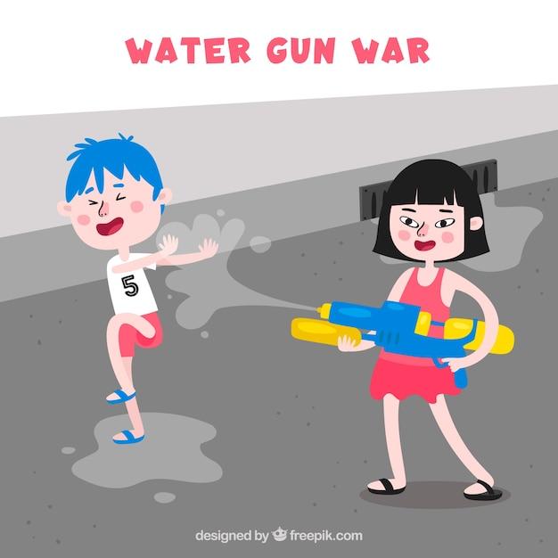 Ninos Jugando En La Calle Con Pistolas De Agua De Plastico