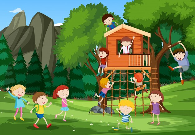 Niños jugando en la casa del árbol vector gratuito