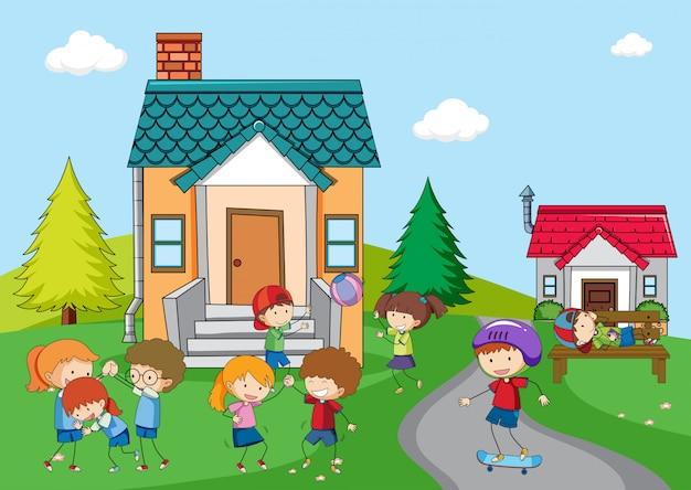Niños jugando en casa rural. vector gratuito