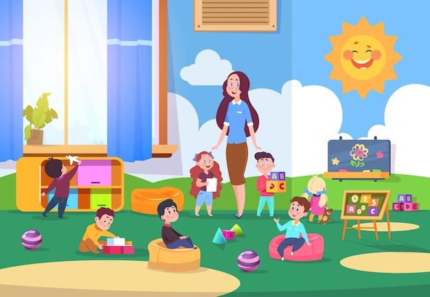 Niños jugando a la clase de jardín de infantes. niños lindos aprendiendo en  el aula con el maestro. kinders preparándose para la escuela | Vector  Premium