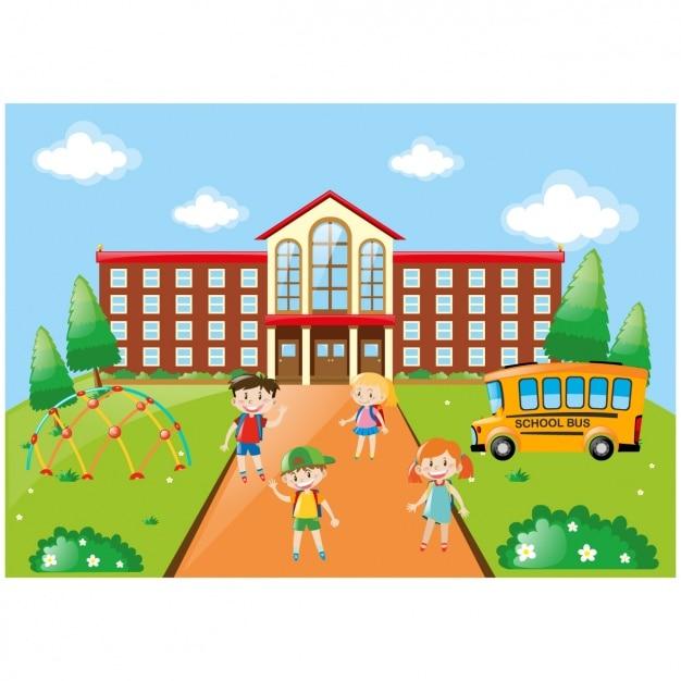 Niños Jugando En El Colegio Vector Gratis