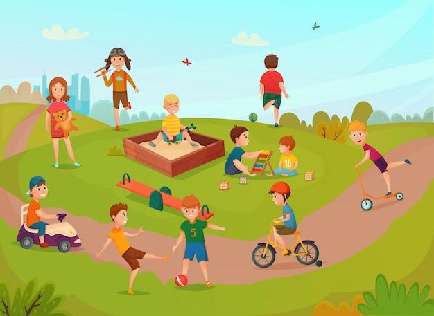 Niños jugando composición vector gratuito