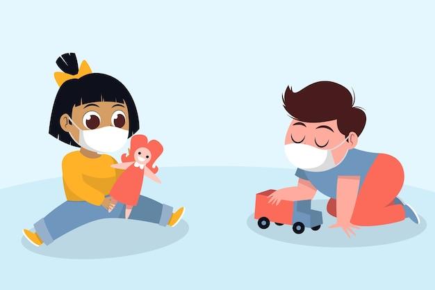 Niños jugando durante la cuarentena | Vector Gratis