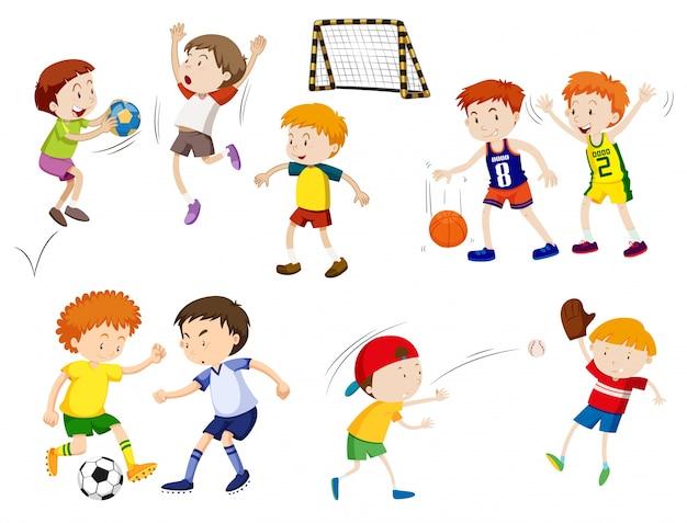 Deportes Diferentes Deportes: Niños Jugando Diferentes Deportes Ilustración