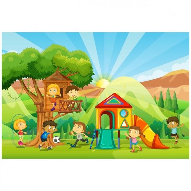 Ni os jugando en un parque infantil descargar vectores for Aprendemos jugando jardin infantil