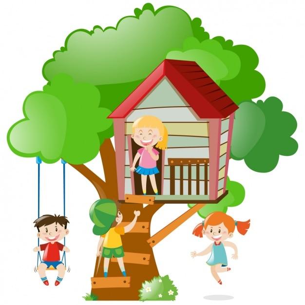 Ni os jugando en una casa del rbol descargar vectores - Casas en arboles para ninos ...