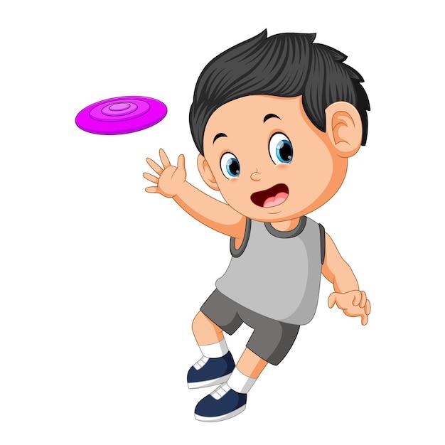 Niños jugando con frisbee Vector Premium