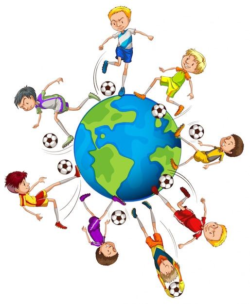 Ninos Jugando Futbol Alrededor Del Mundo Ilustracion Descargar