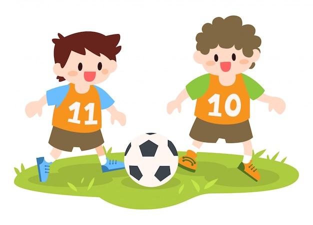 Ninos Jugando Futbol Ilustracion Descargar Vectores Premium