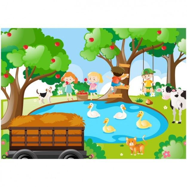 Niños jugando en el lago vector gratuito
