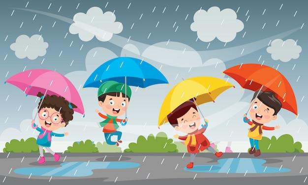 Niños jugando bajo la lluvia en otoño Vector Premium