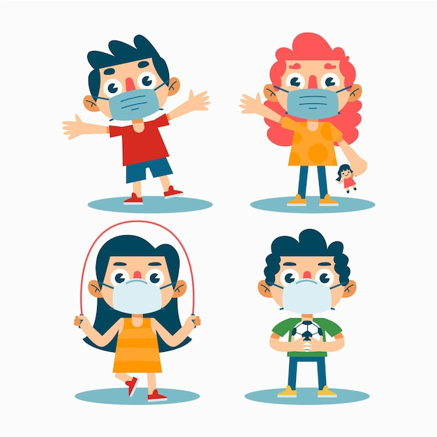 Niños jugando con máscara médica vector gratuito