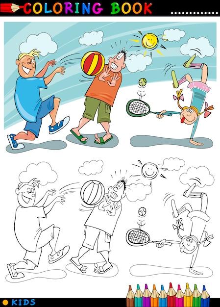 Niños Jugando Pelota De Dibujos Animados Para Colorear