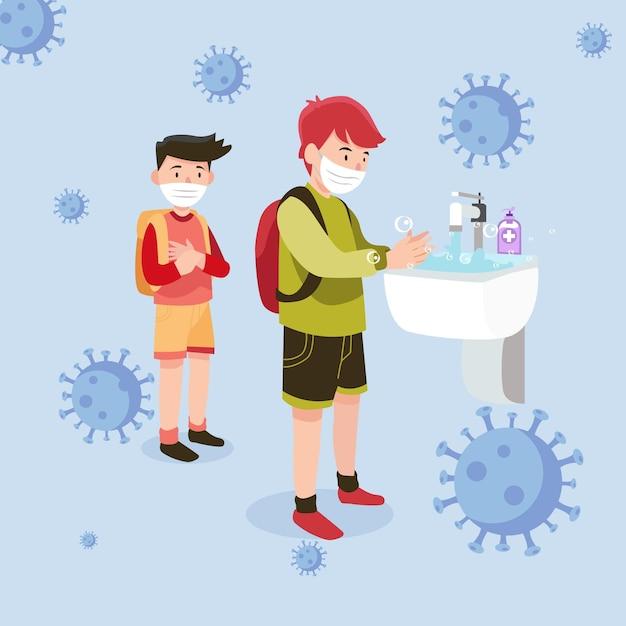 Niños lavándose las manos en la escuela. vector gratuito