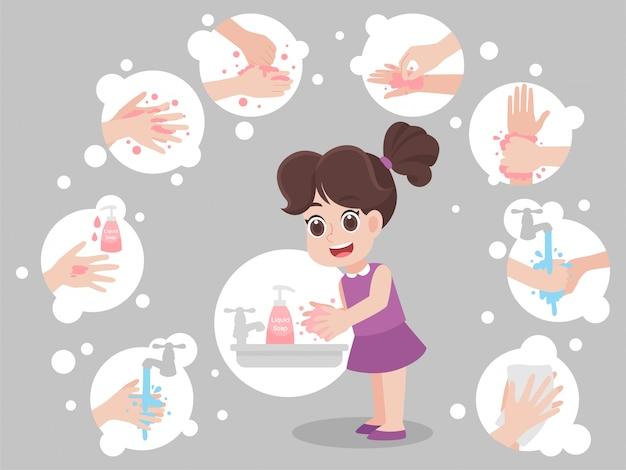 Niños lavándose las manos para prevenir virus Vector Premium