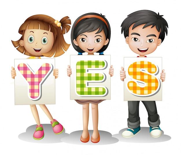 Niños con letras vector gratuito