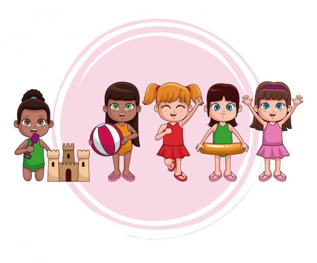 be531cc4c Niños lindos en dibujos animados traje de baño Vector Premium