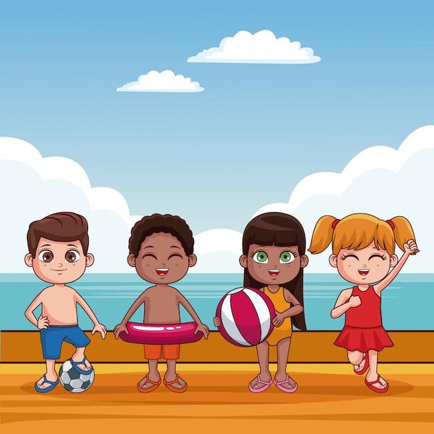 d7024fbf8 Niños lindos en traje de baño en caricaturas de playa Vector Premium