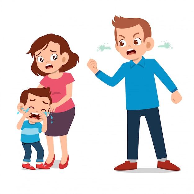 Los niños lloran con sus padres peleando Vector Premium