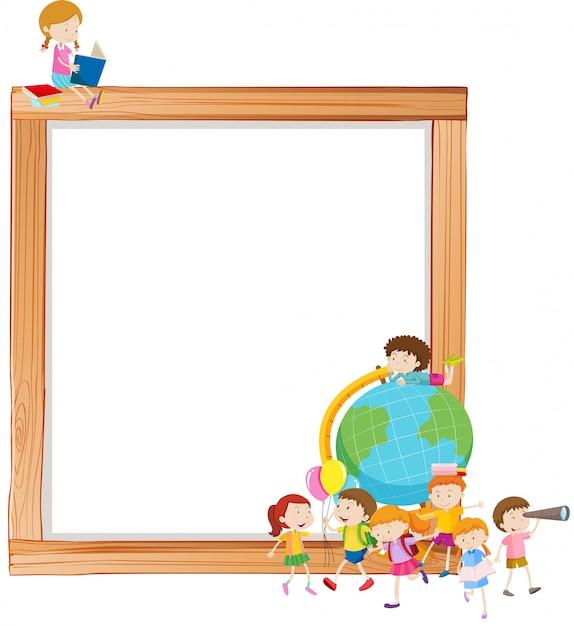 Niños en marco de madera vector gratuito
