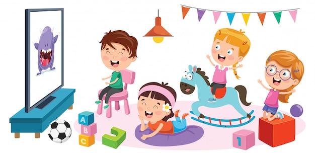 Niños mirando televisión en una habitación Vector Premium