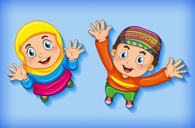 Niños musulmanes felices desde vista aérea vector gratuito