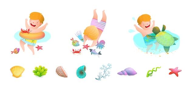 Niños nadando en el mar con tortugas marinas, peces, estrellas de mar, pulpos, conchas marinas. historieta linda divertida. Vector Premium