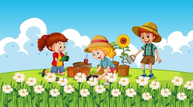 Niños en la naturaleza vector gratuito