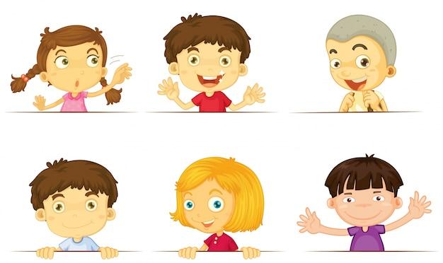 Dibujos Caras De Niños Felices Animadas: Niños Y Niñas Con Caras Felices