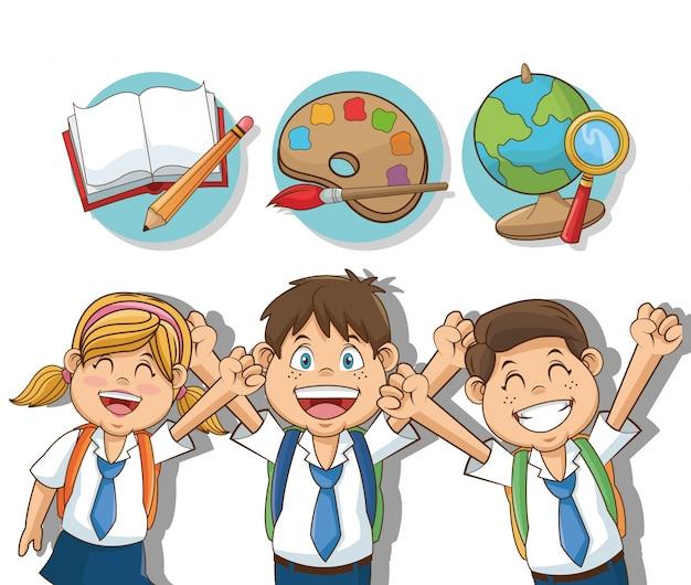 Niños Y Niñas Dibujos Animados Estudiantes Descargar Vectores Premium