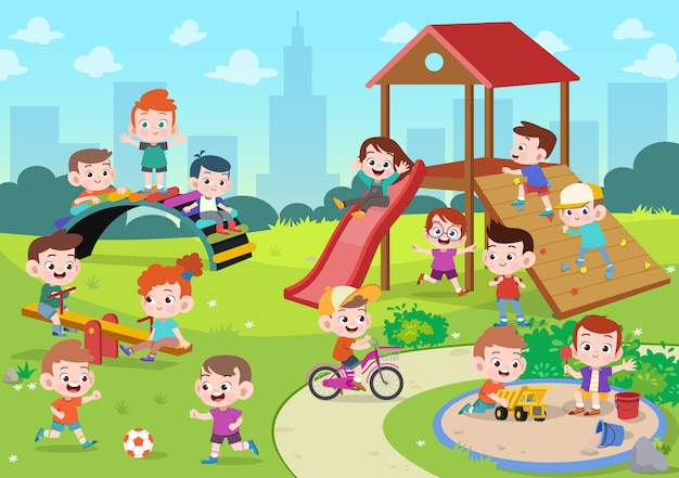 Niños niños jugando ilustración infantil Vector Premium
