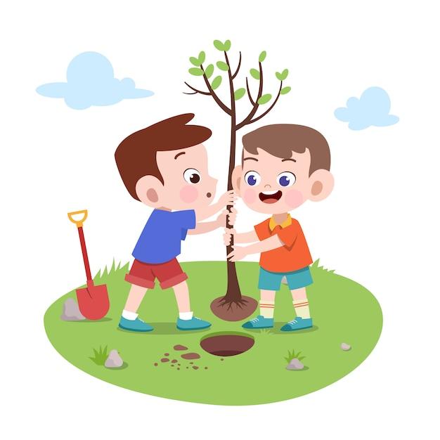 Niños niños plantando árbol ilustración | Vector Premium