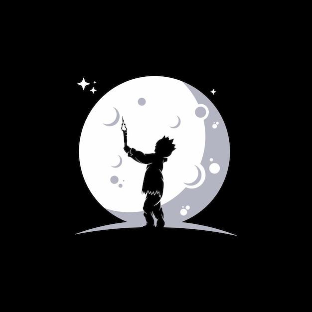Los niños pequeños alcanzan los sueños en la luna Vector Premium