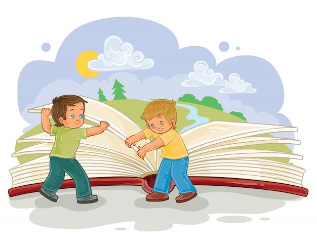 Los niños pequeños dan vuelta a páginas gran libro vector gratuito