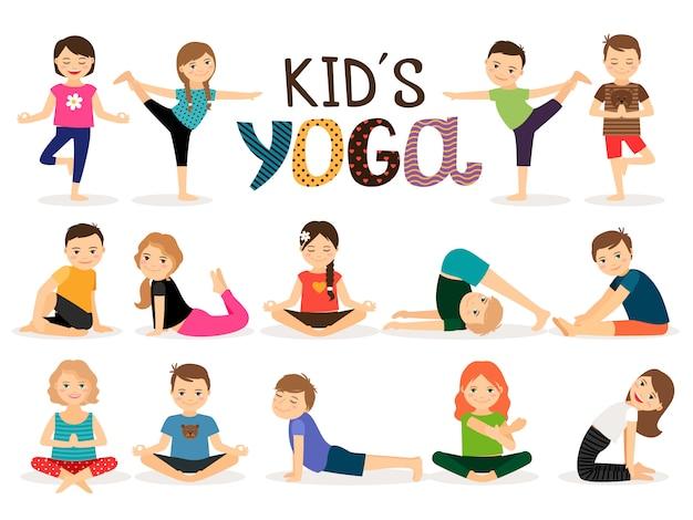 Niños pequeños en diferentes posturas de yoga. Vector Premium