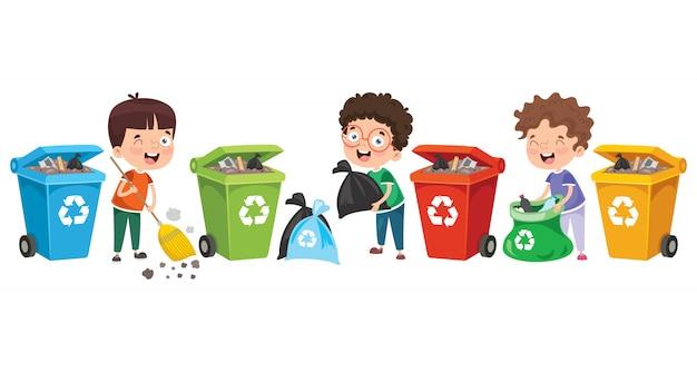 Niños pequeños limpiando y reciclando basura Vector Premium