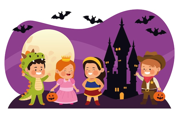 Niños pequeños lindos vestidos como personajes diferentes con murciélagos en la ilustración de vector de escena nocturna de castillo Vector Premium