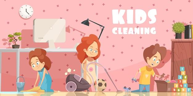 Niños pequeños que limpian el cartel de dibujos animados retro de la sala de estar con un amplio barrido que ordena los juguetes y aspiran vector gratuito