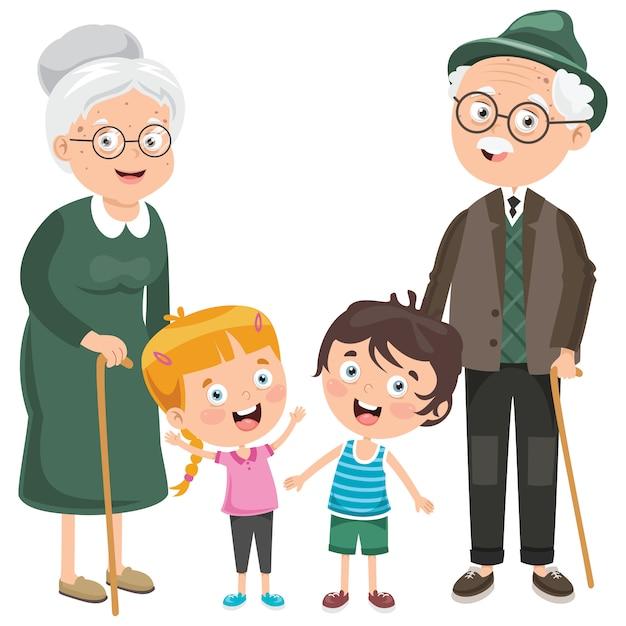 Niños pequeños con sus abuelos Vector Premium